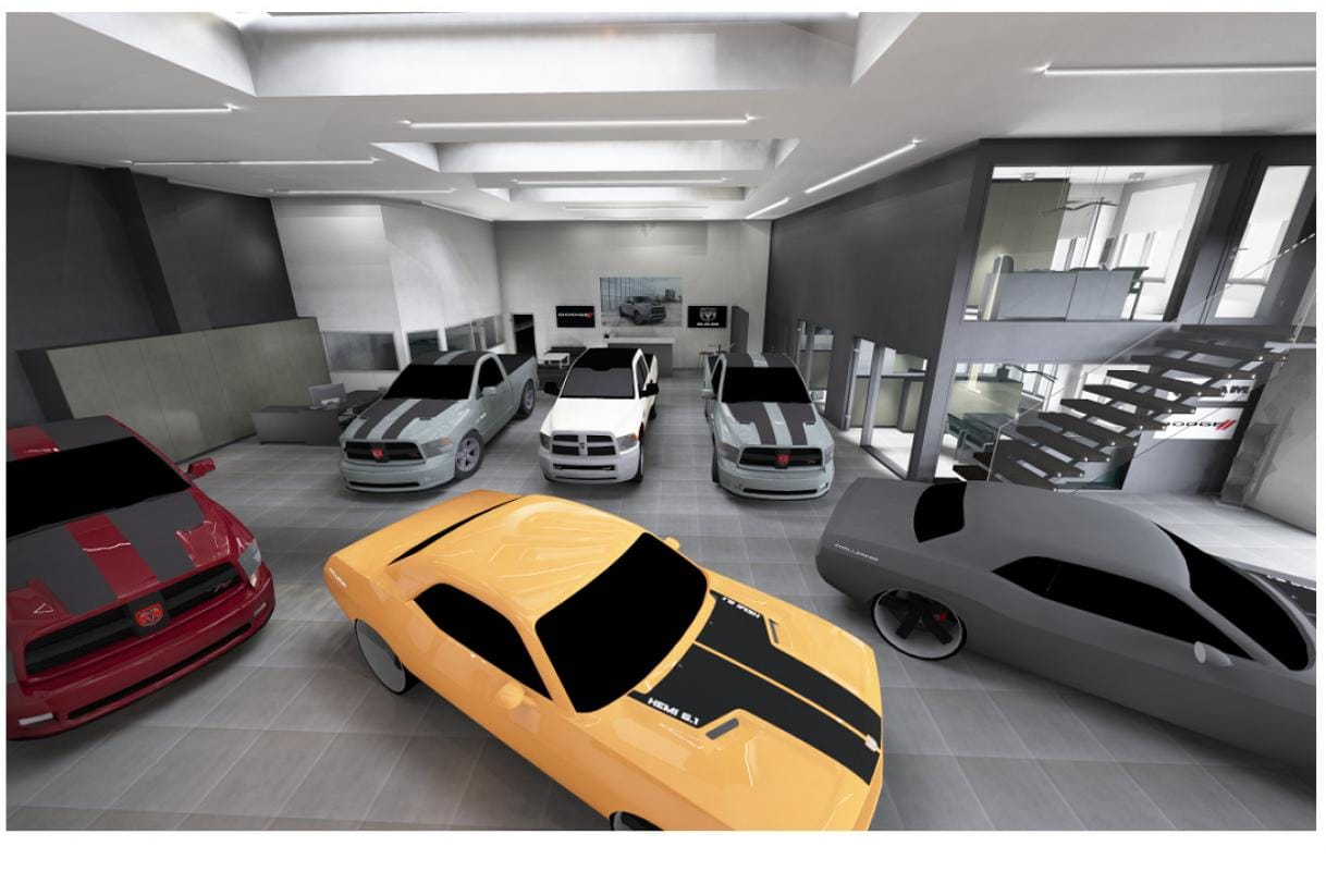 Het renoveren van showroom Dogde/Ram/Caddilac/Ford garage te Waregem